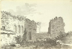 The ruined church below Walton Castle